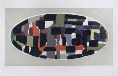 213-E Siebdruck Abstraktes Oval 35x55cm