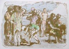224-E Siebdruck Figuren am Strand 18x25cm