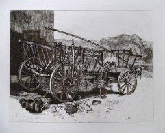 239-F Radierung Leiterwagen 19,5x25cm