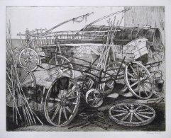 241-F Radierung Bauernwagen 19x25cm