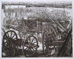 242-F Radierung (Beleg) Bauernwagen mit Hühnern 19x25cm