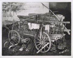 243-F Radierung Leiterwagen 19x25cm