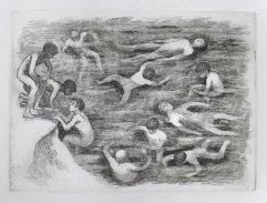 254a-F Radierung Kinder im Wasser 16,5x22,5cm