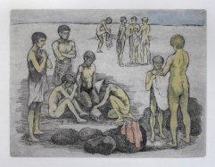 254b-F Radierung Kinder am Strand 15x20cm