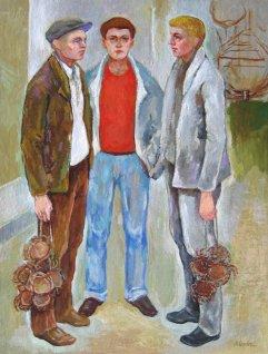 M-033 Männer mit Krabben 1954 40x30cm